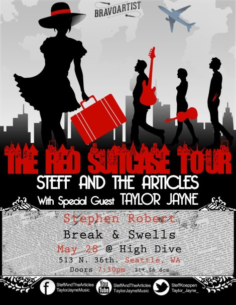 Performing with Steff and the Articles, Taylor Jayne and Breaks and Swells at the High Dive on Tuesday May 28.